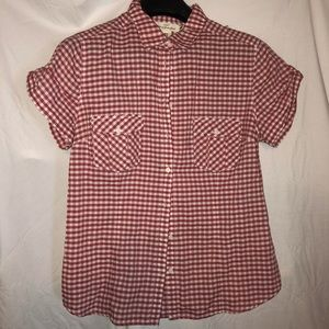 Super cute red and white checkered blouse
